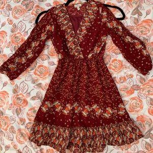 Maroon cold shoulder floral dress